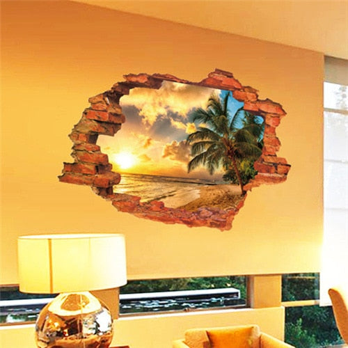 Free shipping:3D Broken Wall Sunset Scenery Seascape Island Coconut Trees Household Adornment Can Remove The Wall Stickers