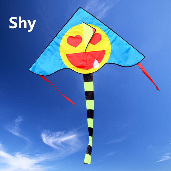 Free shipping high quality 20pcs/lot smiling face kite line outdoor toys flying ripstop nylon kids kite wholesale weifang