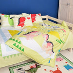 Free shipping via UPS 4pcs 100%cotton high-grade children boy yellow dinosaur bedding set single/twin full size without filling