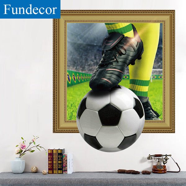 [Fundecor] 3D football World Cup fake window broken wall stickers for kids rooms boys bedroom bar wall decals murals home decor