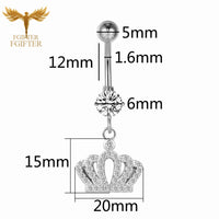 G23titan Wholesale Body Jewelry Silver Crystal Belly Button Rings 16G Titanium Dangle Belly Ring Bellybutton Piercing
