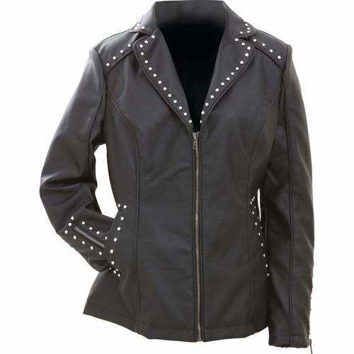 Tailored Ladies' Faux Leather Studded Jacket