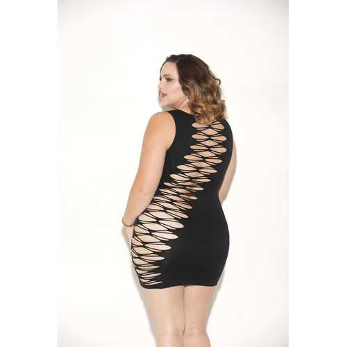 Seamless Cut Out Mini Dress - Queen Size - Black