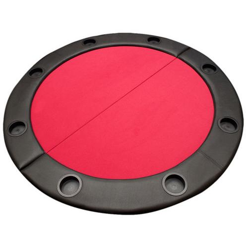 "48"" Red Felt Octagon Folding Table Top w/ Padded Rail"