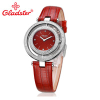 Luxury Japanese MIYOTA GL20 Women Quartz Diamond Red Leather Sapphire Crystal