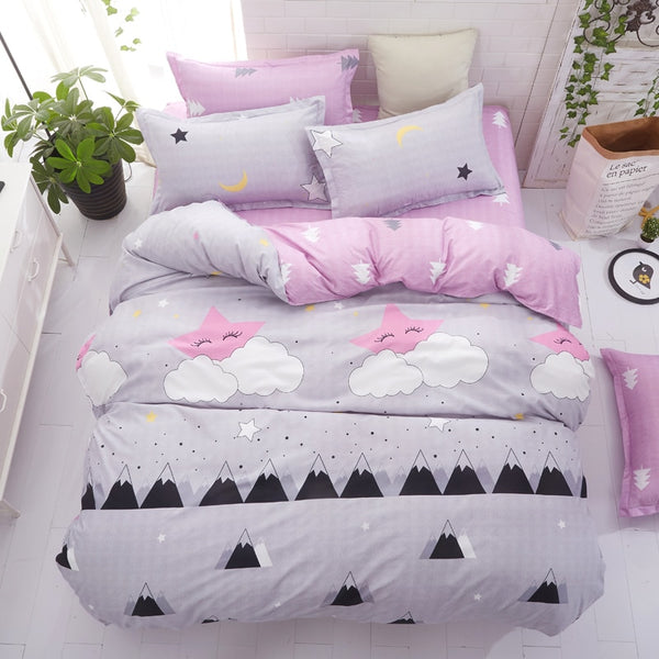 Grey bedding set 2018 summer bed linens 3or 4pcs/set duvet cover set Pastoral bed set kids / Adult bedding bedclothes queen kin 1