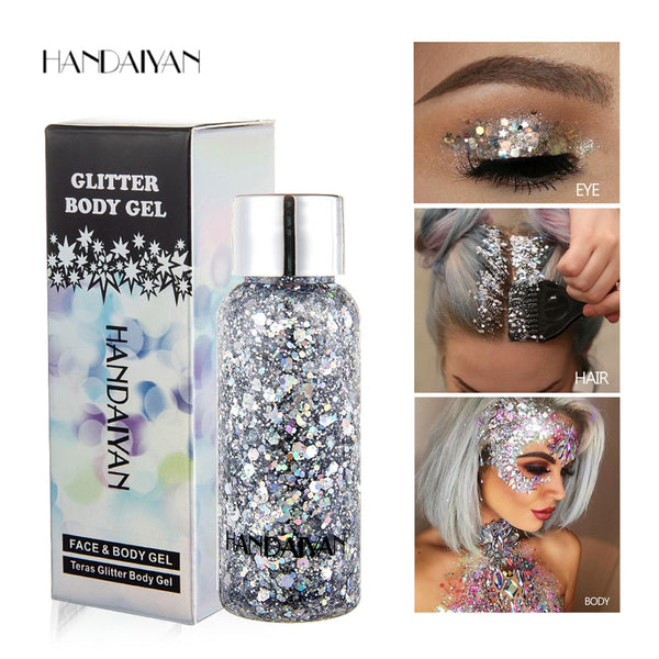 8 Colors Glitter Shiny body Painting Gel Cream to choose from. Face Glitter Body Art Eye Shadow Festival Party Eye Makeup.