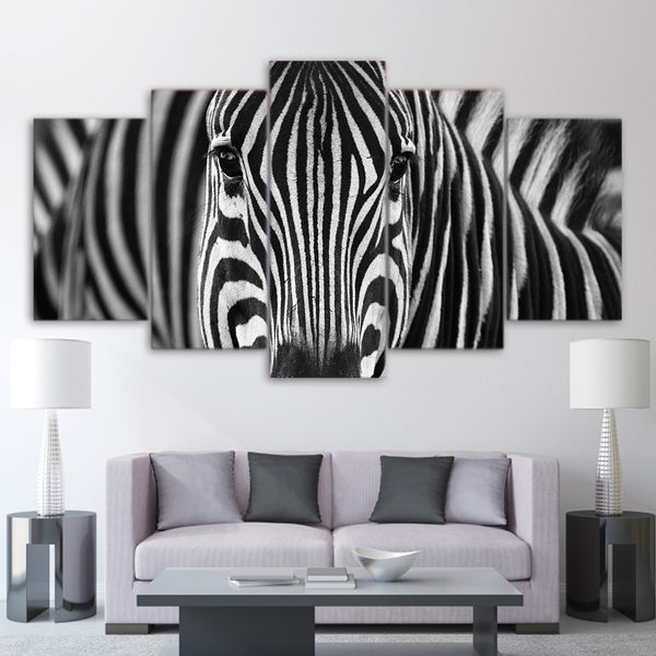 HD Prints Canvas Home Wall Art Decor Framework Pictures 5 Pieces Zebra Black And White Paintings For Living Room Animal Posters