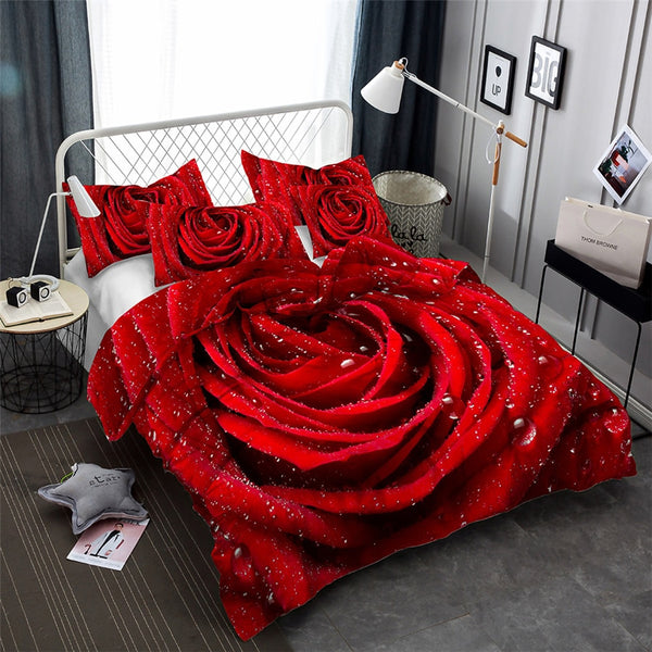 3D Bedding Set Flower Print Duvet Cover with Pillow Case