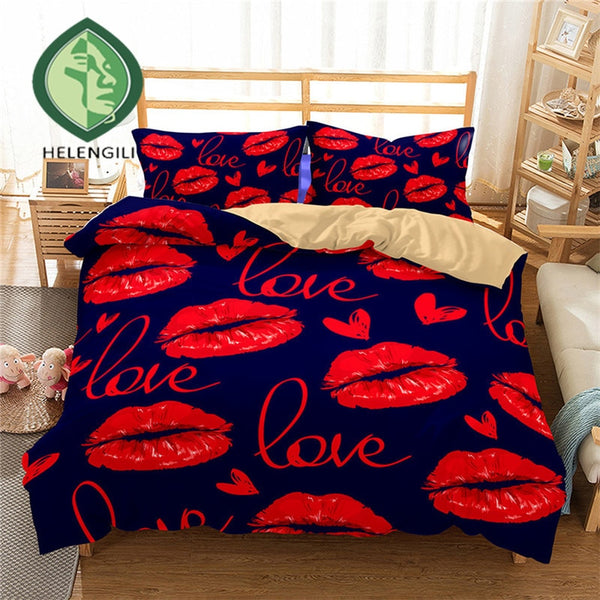 3D kiss You All Night Long Bedding Set Lips Print Duvet cover set lifelike bedclothes with pillowcase