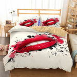 3D Bedding Set Lips Print Duvet cover set lifelike bedclothes with pillowcase bed set