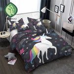 HELENGILI 3D Bedding Set Unicorn Print Duvet cover set lifelike bedclothes with pillowcase bed set home Textiles #DJS-13