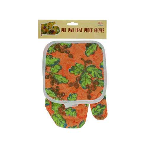 Quilted Floral & Fruit Print Oven Mitt & Pot Holder Set ( Case of 24 )