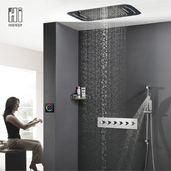 HIDEEP Wall Mounted Roof Embedded Rainfall Shower Head System Faucet Solid Brass Auto-Thermostat Control LED Bathroom Shower Set
