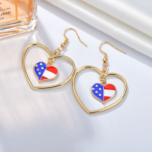 Women Trendy USA Flag Heart Drop Earrings Cute And Romantic Earrings Handmade Individuality American Wedding Jewelry Earings