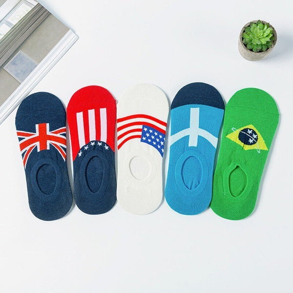 Flag Men Short Socks 5 Pair/set Fashion USA UK Flag Print Cotton Men Socks Invisible Summer Thin Ankle Socks with Gift Bag