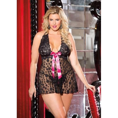 Large Polka Dot Net Babydoll - Queen Size - Black