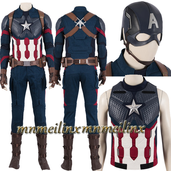 HOT Captain America Avengers 4 Endgame Steve Rogers Cosplay Costume Superhero Fancy Outfit Customized Halloween Suit Helmet Hat