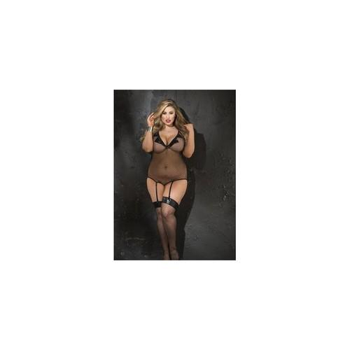 Stretch Fishnet & Patent Leather Gartered Teddy &  Stocking Set - Queen Size