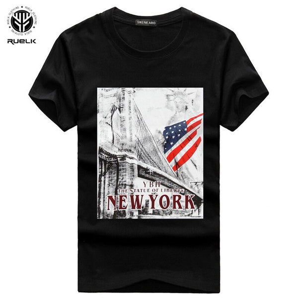 Hot Sale Summer Men's Clothing T-Shirts Cartoon Print USA Flag Men T Shirt Short Sleeve Casual Cotton T Shirt Men