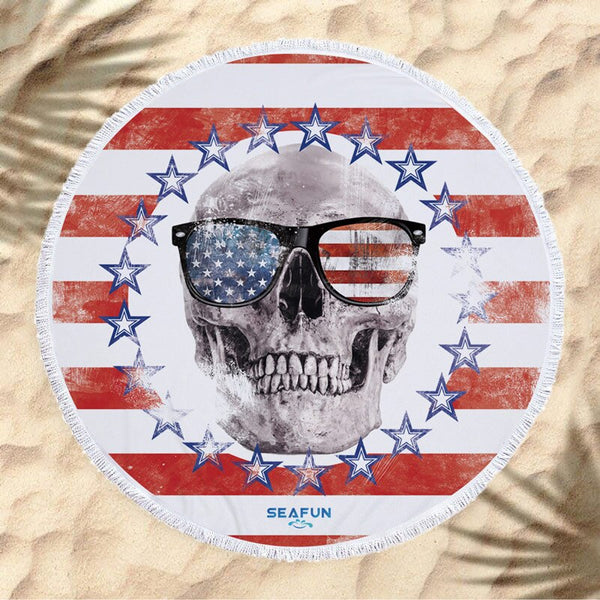 Beach Towel Microfiber Fabric Round American Flag Sunglasses Skull Printed Beach Towel Skull Head Sunima Beach Towel Camping Picnic Towel