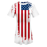 Women Dress American Flag USA Printed Clothing Short Sleeve O Neck Elastic Ladies Dress Sundresses Vestidos De Festa