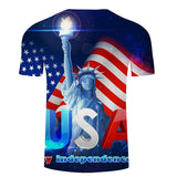 American Statue of Liberty T Shirt Men USA Indenpence Letter Print Tshirt Tees 3D USA Flag Camiseta Casual Men Women Tops Tees