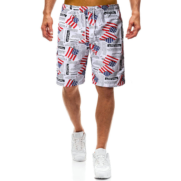 USA Print Beach Sports Running Pants Men Swimming Mixed Cotton Running Board Shorts Spandex Mens American Flag Swim Shorts
