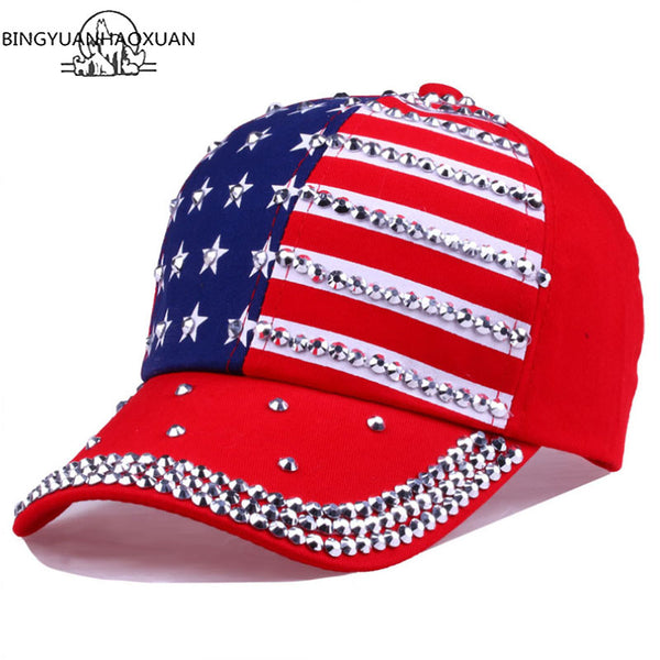 USA Flag Diamond Rivet Brand Snapback Cap Unisex Adjustable Rap Rock Hats Fashion Gorras