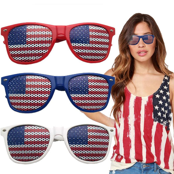 1PC/3PC American Flag USA Patriotic Design Plastic Shutter Glasses Shades Sunglasses for Independence Day Party Decoration #007