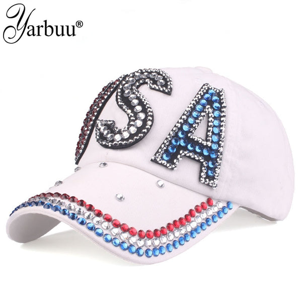 High Quality USA Flag Baseball Cap Three colours with rhinestone Snapback Casual Golf Hat Trucker Snapback Cap Gorras