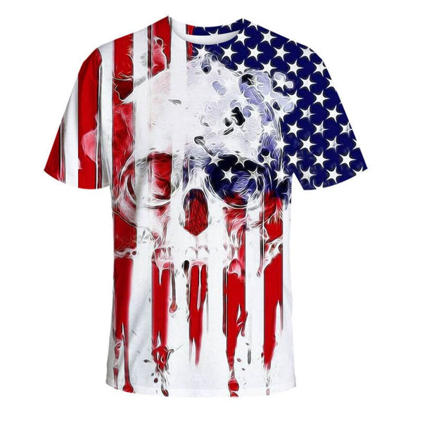 New Fashion Brand Tshirt Men/Women O-neck 3d T-shirt Print Skulls Roses Flowers USA Flag T Shirt Summer Tops Tees
