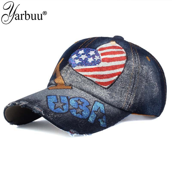 Brand baseball caps new fashion high quality I love USA flag painting baseball cap Adjustable Casual Snapback HAT