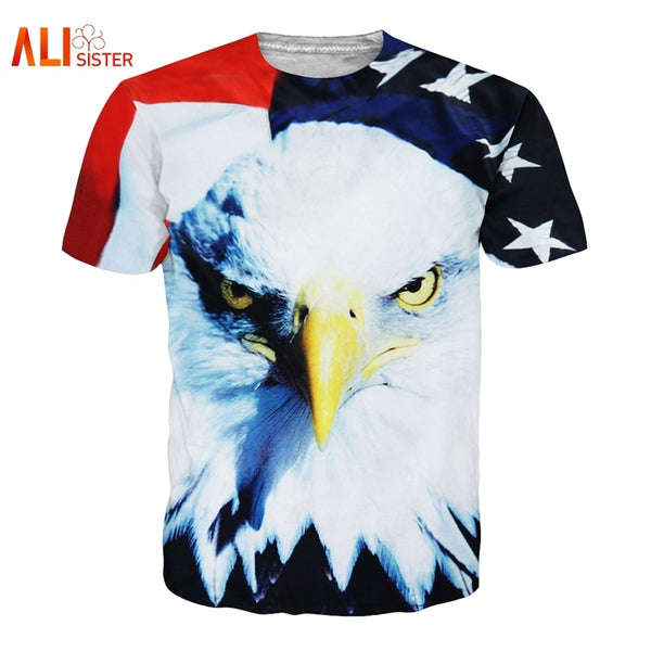 Eagle T Shirt USA Flag Print 3d T-shirt Summer Men Women Casual Tees Large Size Funny Brand Clothing Dropship