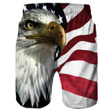 USA Flags Printed 3D Shorts Eagle Men Elastic Waist Bermuda Beach Board Shorts Trousers Swimwear Homme Casual Fitness Sweatpants