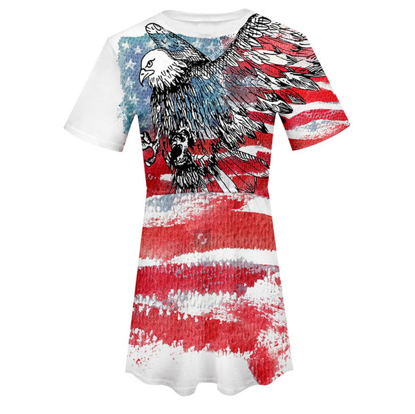 2019 New Summer Dress Women American Flag USA Short Sleeve O Neck Print Elastic Ladies Dress Robe Femme Vestidos Plus Size