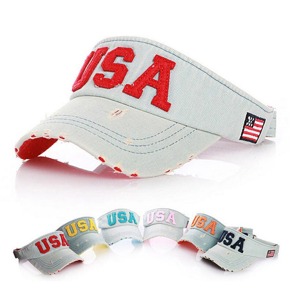New Fashion Letter USA Embroidery Empty Top Visor Sun Hat For Boys Girls Baseball Cap Snapback Caps