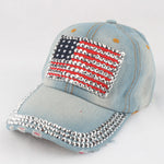 Baseball Caps Fashion Hat For women Men Adjustable Cotton Cap Rhinestone Star Usa Flag Denim Cap Hat