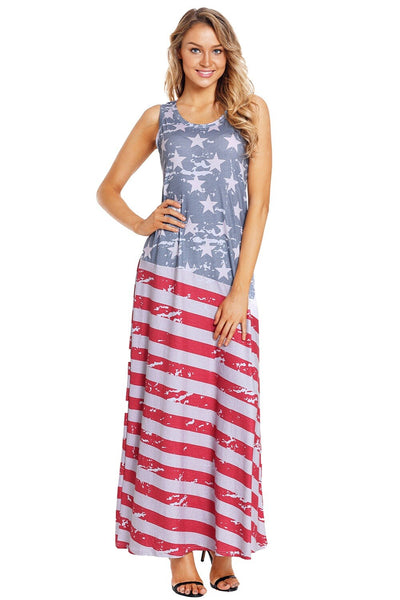 Sexy New Womens Sleeveless Slim Fitting USA American Flag Print Strips Summer Casual Beach Party Long Maxi Dress