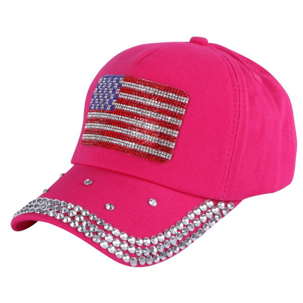 NEW KIDS trendy girl boy cap hat crystal rhinestone luxury bling usa flag style sports snapback hats children kids baseball caps
