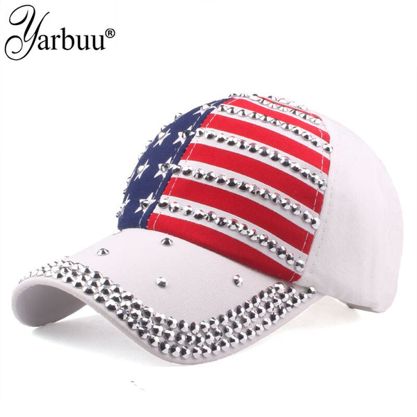 High Quality USA Flag Baseball Cap Men Women Eagle Snapback Bone Casual Sun Golf Hat rhinestone star Denim cap hat