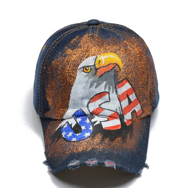 Hand Painted USA FLAG Letter Baseball Cap Women Snapback Hats For Men Bone Feminino Hip Hop Hand-Painted Fashion Caps