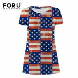 Fashion USA UK Flags printing short sleeve summer dress leisure women A-line mini dress Vestidos casual becah dress