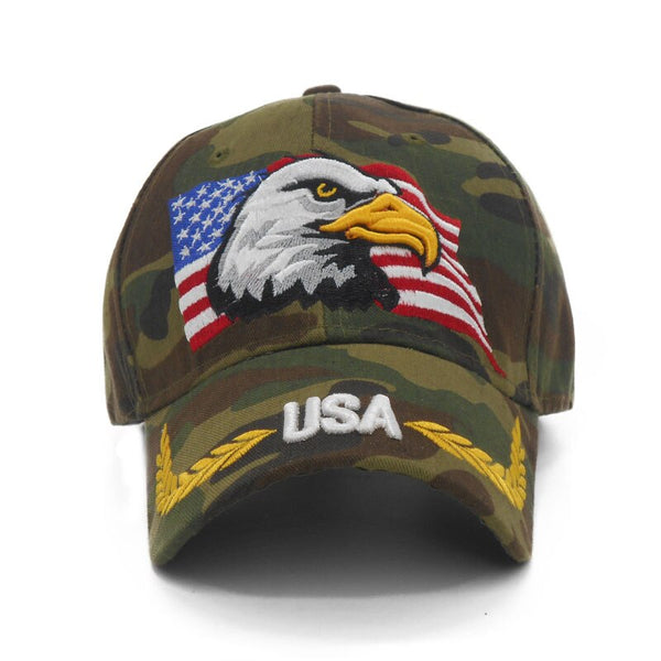 New Embroidery Eagle Camouflage Baseball Caps For Men Women Outdoor Fishing Desert Hats USA Flag Army Camo Baseball Hats