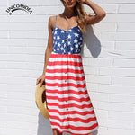 Sexy Womens Sleeveless Slim Fitting Dress USA American Flag Strips Stars Summer Casual Beach Party Long Dress Sundress
