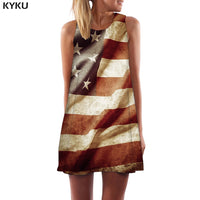 American Flag Dress Women Graffiti Boho Vintage 3d Print Usa Tank Gothic Beach Womens Clothing Casual New Wrap Fashion