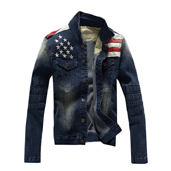 USA Design Mens Jeans Jackets American Army Style Man's Jeans Clothing Denim Jacket for Men Plus size Asia