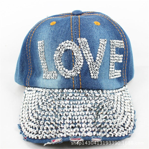 New Luxury Brand Fashion Design Hats Shabby Denim Hats Rhinestone Crystal Beads Letters LOVE Baseball Caps For Women Lovers Hats