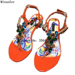 Handmade Bohemia Designed Summer Beach Sandals Party Dress Crystal Sandals Shoes Diamond Multicolor Woman Shoes Buckle Strap