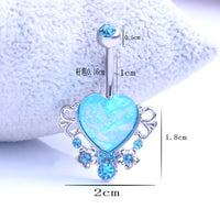 Heart Crystal Belly Button Rings Belly Bar Navel Piercing Jewelry Women Sexy Retro Jewelry Navel Piercing Belly Body Jewelry